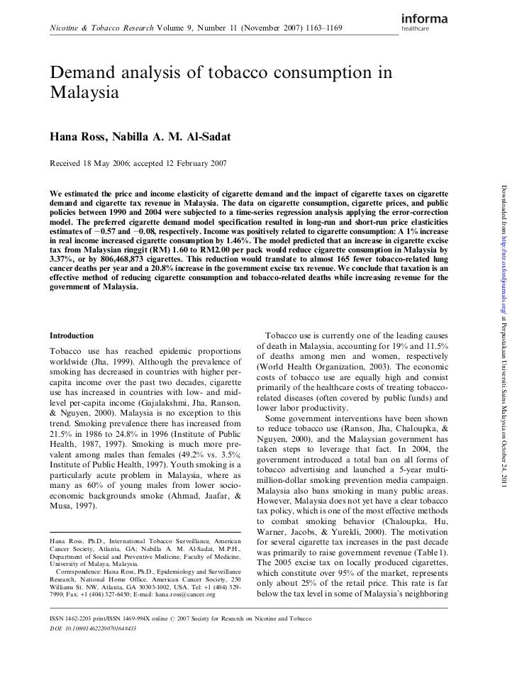 Nicotine & Tobacco Research Volume 9, Number 11 (November 2007) 1163–1169Demand analysis of tobacco consumption inMalaysia...