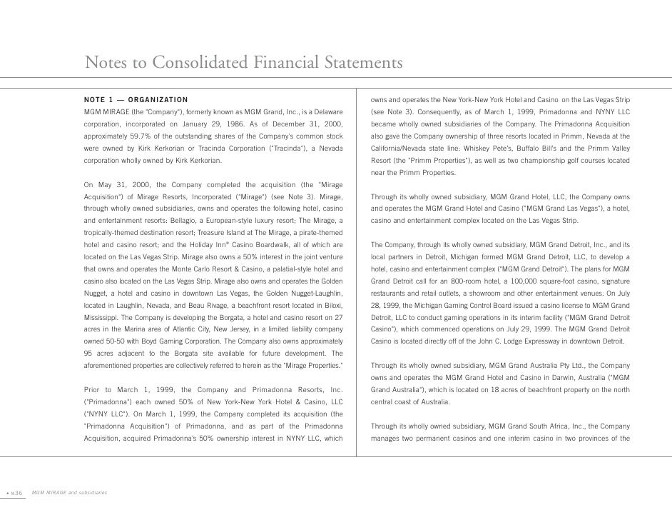 Notes to Consolidated Financial Statements                           NOTE 1 — ORGANIZATION                                ...