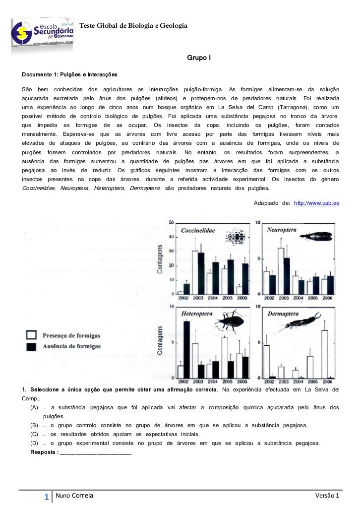 Teste Global de Biologia e Geologia                                                                             Grupo IDoc...
