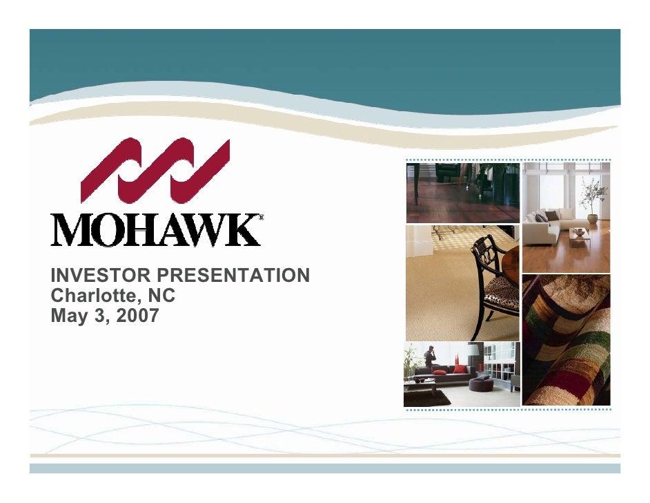 INVESTOR PRESENTATION Charlotte, NC May 3, 2007