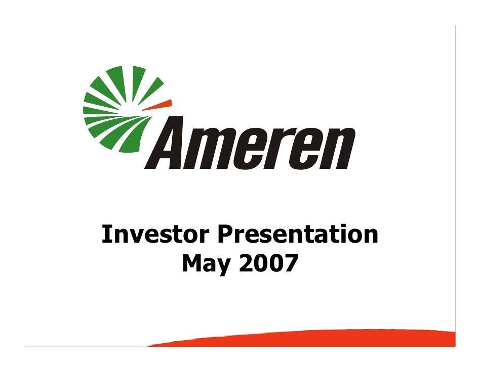 Investor Presentation       May 2007