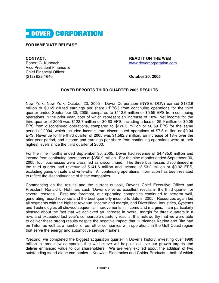 FOR IMMEDIATE RELEASE   CONTACT:                                                   READ IT ON THE WEB Robert G. Kuhbach   ...