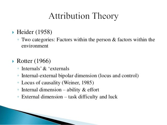 Attribution theory by stewart dating