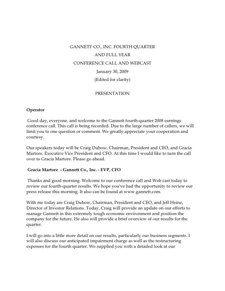 GANNETT CO., INC. FOURTH QUARTER                                      AND FULL YEAR                          CONFERENCE CA...