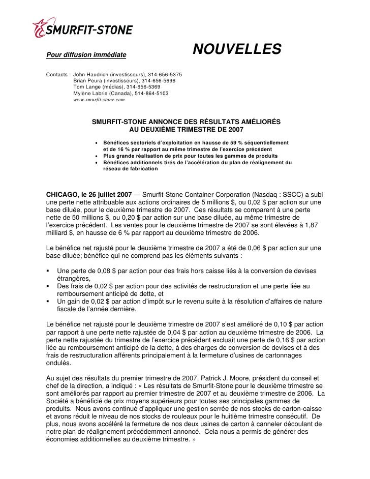 NOUVELLES Pour diffusion immédiate  Contacts : John Haudrich (investisseurs), 314-656-5375            Brian Peura (investi...
