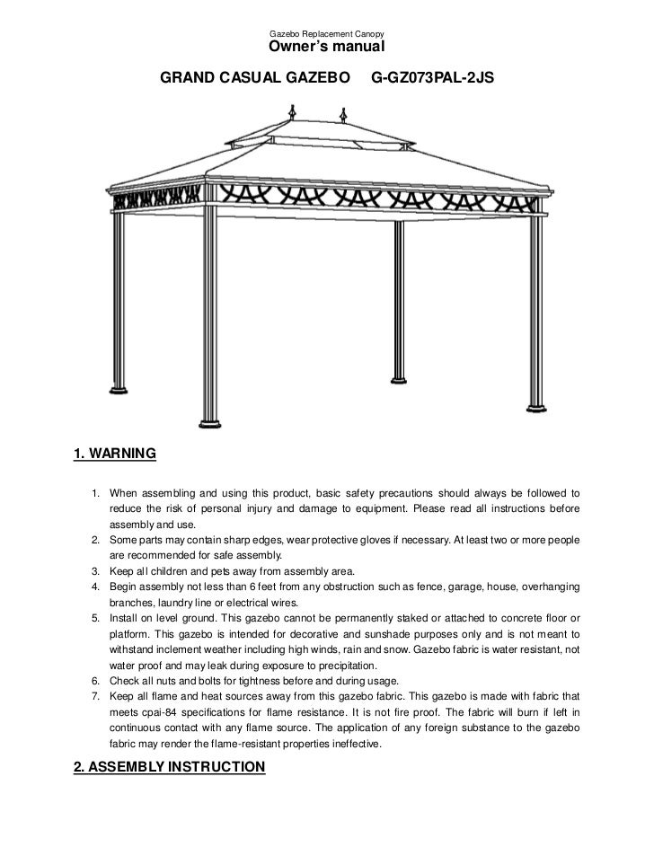 Sunjoy Grand Casual Gazebo Assembly And Instructions Manual