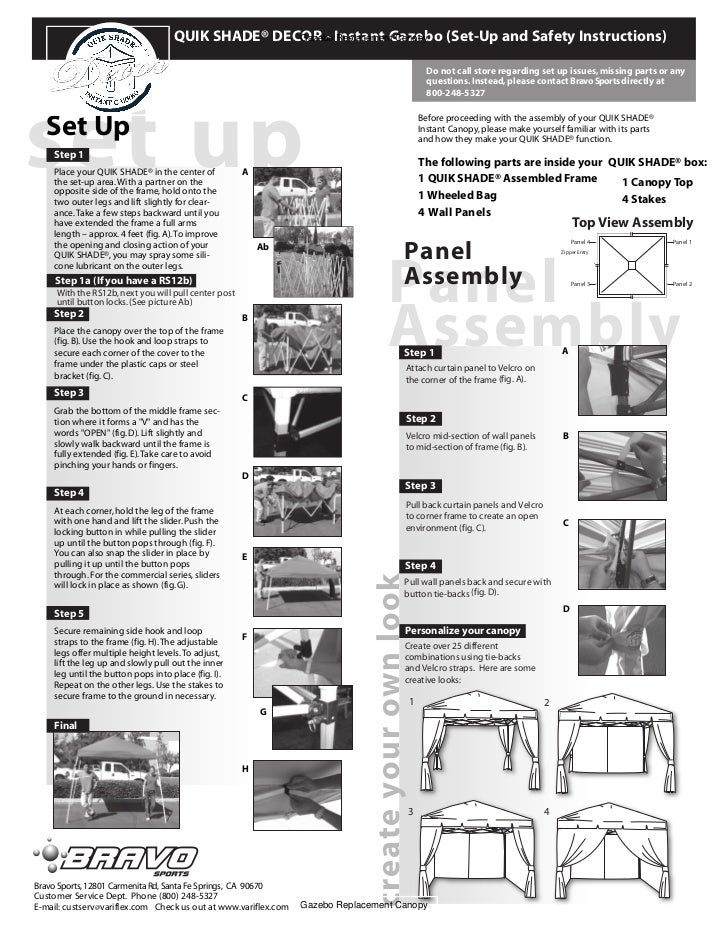 Instant Gazebo Set Up And Safety Instructions