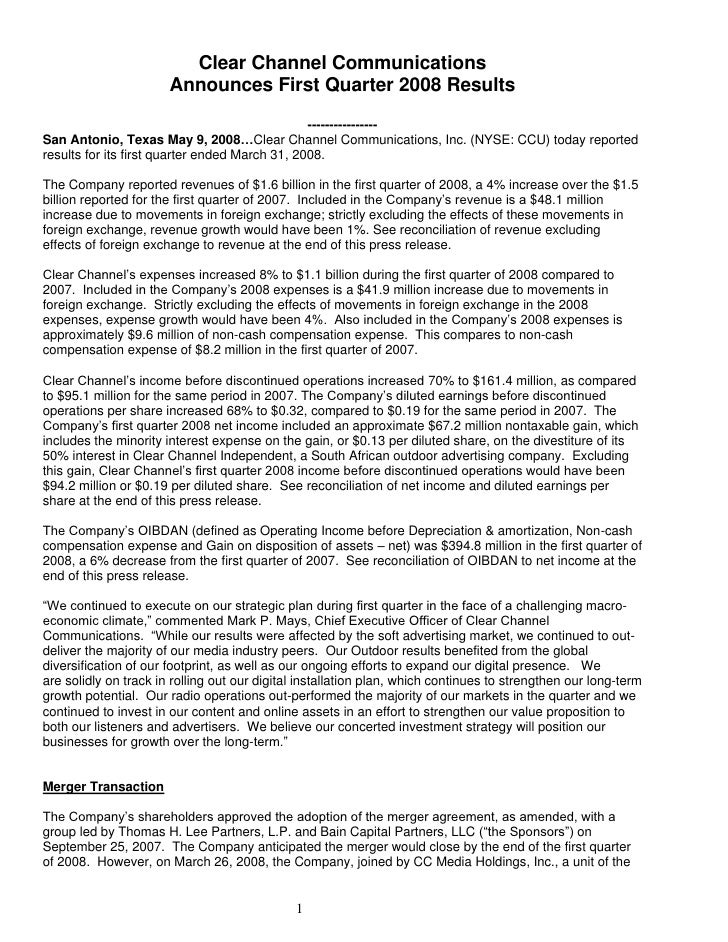 Clear Channel Communications                        Announces First Quarter 2008 Results                                  ...