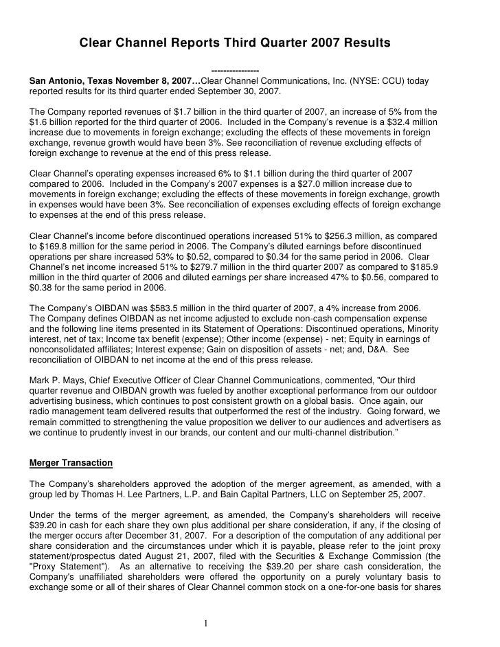 Clear Channel Reports Third Quarter 2007 Results                                                  ---------------- San Ant...