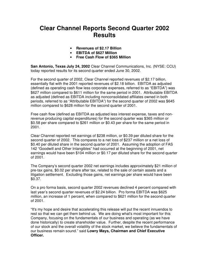 Clear Channel Reports Second Quarter 2002                       Results                         •   Revenues of $2.17 Bill...