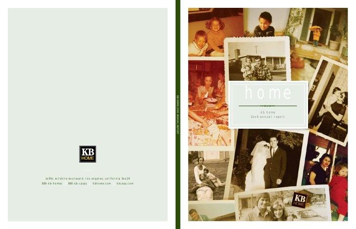 hom e KB HOME 2006 ANNUAL REPORT                                       kb home                              2oo6 annual re...