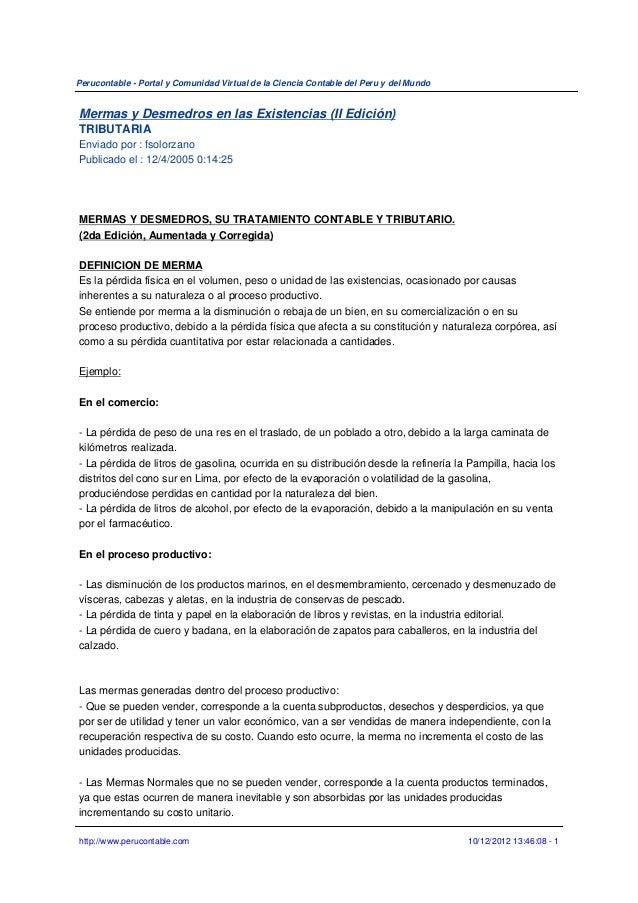 Perucontable - Portal y Comunidad Virtual de la Ciencia Contable del Peru y del MundoMermas y Desmedros en las Existencias...