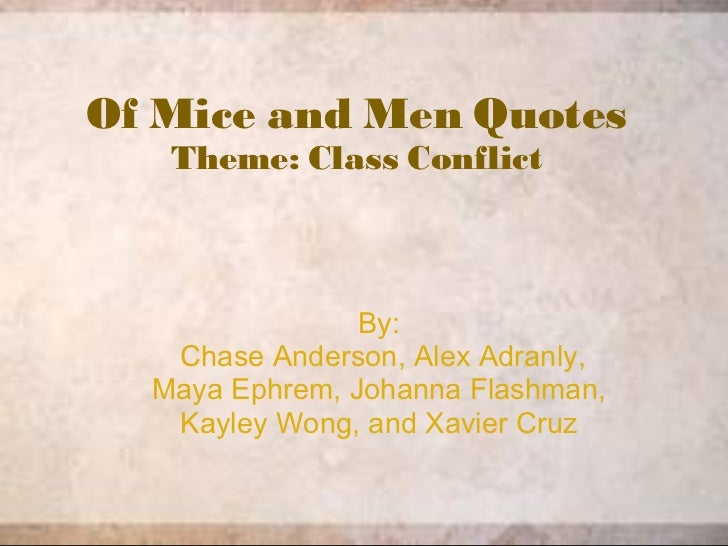 Of Mice and Men Quotes Theme: Class Conflict By:   Chase Anderson, Alex Adranly, Maya Ephrem, Johanna Flashman, Kayley Won...