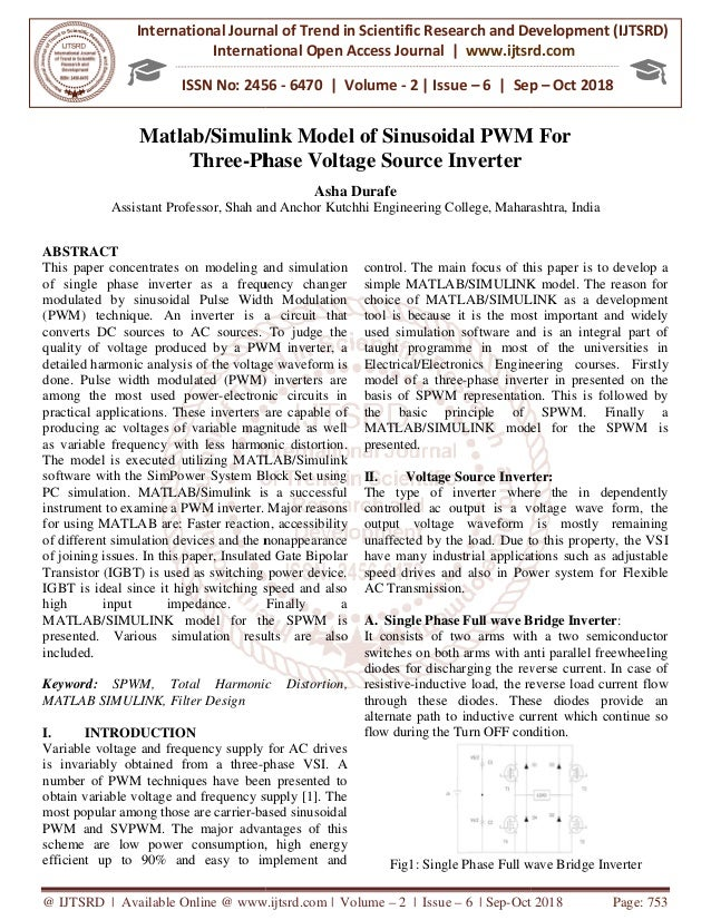 Matlab Simulink Model of Sinusoidal PWM For Three-Phase Voltage Sourc…