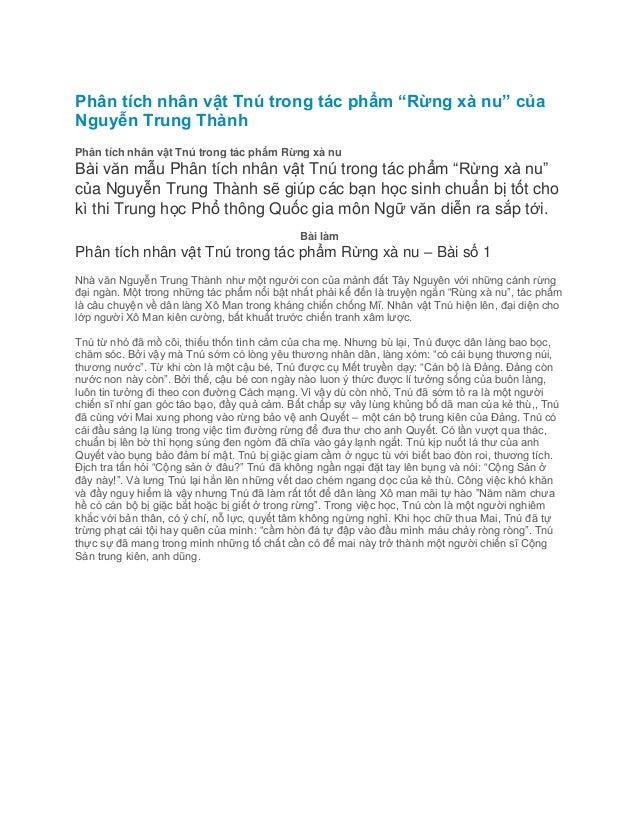 """Phân tích nhân vật Tnú trong tác phẩm """"Rừng xà nu"""" của Nguyễn Trung Thành Phân tích nhân vật Tnú trong tác phẩm Rừng xà nu..."""