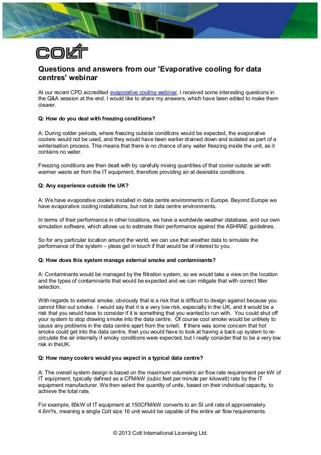 Questions and answers from our 'Evaporative cooling for data centres' webinar At our recent CPD accredited evaporative coo...