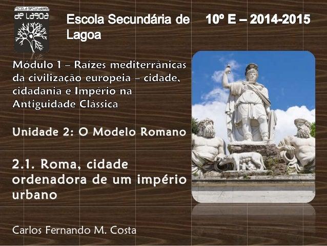 Unidade 2: O Modelo Romano  2.1. Roma, cidade  ordenadora de um império  urbano  Carlos Fernando M. Costa