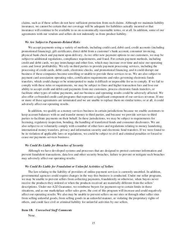 Amazon financial paper