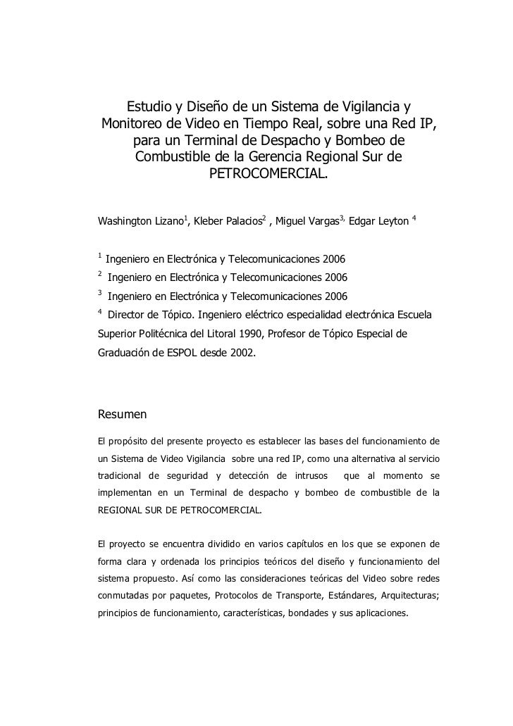 Estudio y Diseño de un Sistema de Vigilancia yMonitoreo de Video en Tiempo Real, sobre una Red IP,     para un Terminal de...