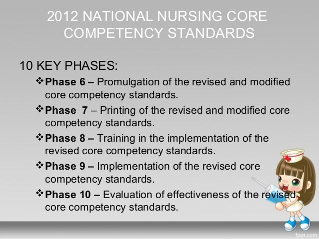 core competency standards for filipino nurses Quality standards of nursing practice in the philippines and exercise the powers   the 2012 national nursing core competency standards (2012 nnccs) will.