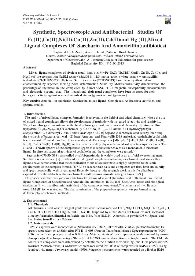 Chemistry and Materials Research www.iiste.org ISSN 2224- 3224 (Print) ISSN 2225- 0956 (Online) Vol.6 No.3, 2014 20 Synthe...