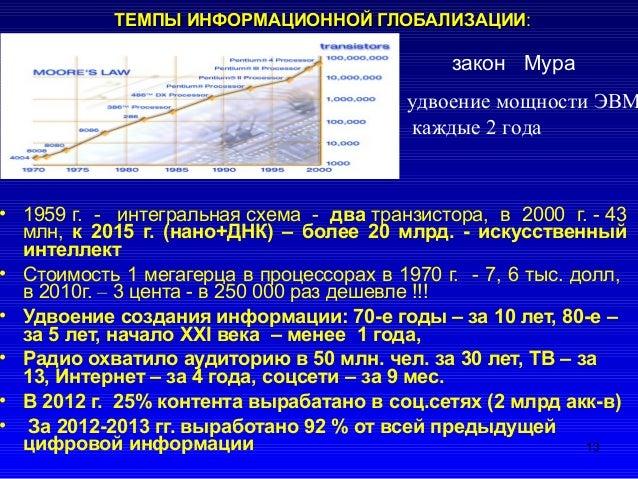 ТЕМПЫ ИНФОРМАЦИОННОЙ ГЛОБАЛИЗАЦИИТЕМПЫ ИНФОРМАЦИОННОЙ ГЛОБАЛИЗАЦИИ: • 1959 г. - интегральная схема - два транзистора, в 20...