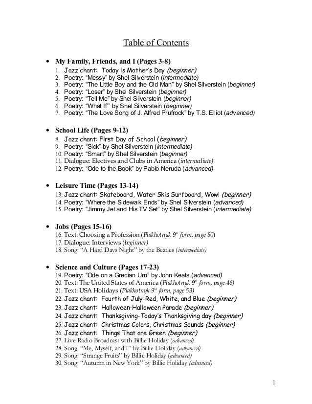 "Table of Contents • My Family, Friends, and I (Pages 3-8) 1. Jazz chant: Today is Mother's Day (beginner) 2. Poetry: ""Mess..."