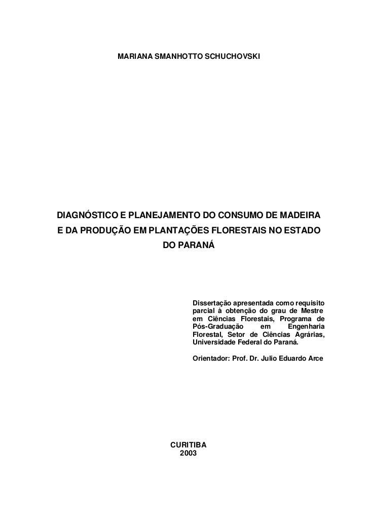 MARIANA SMANHOTTO SCHUCHOVSKIDIAGNÓSTICO E PLANEJAMENTO DO CONSUMO DE MADEIRAE DA PRODUÇÃO EM PLANTAÇÕES FLORESTAIS NO EST...