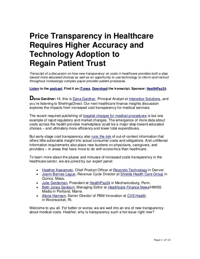 Page 1 of 13 Price Transparency in Healthcare Requires Higher Accuracy and Technology Adoption to Regain Patient Trust Tra...