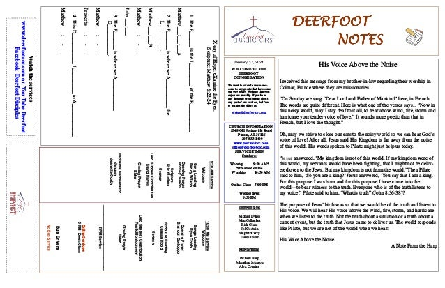 DEERFOOTDEERFOOTDEERFOOTDEERFOOT NOTESNOTESNOTESNOTES January 17, 2021 WELCOME TO THE DEERFOOT CONGREGATION We want to ext...