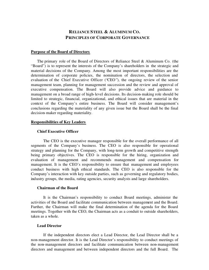 RELIANCE STEEL & ALUMINUM CO.                      PRINCIPLES OF CORPORATE GOVERNANCE  Purpose of the Board of Directors  ...