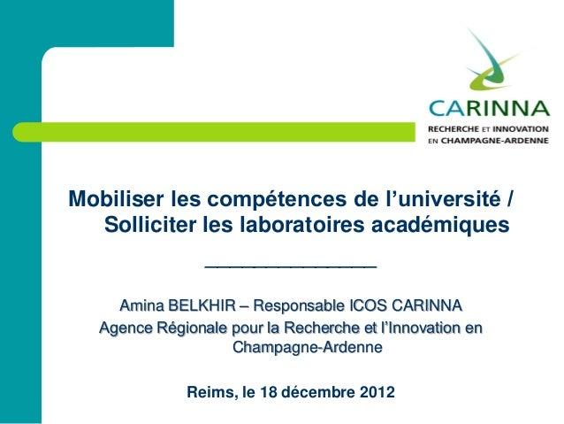 Mobiliser les compétences de l'université /Solliciter les laboratoires académiques______________Amina BELKHIR – Responsabl...