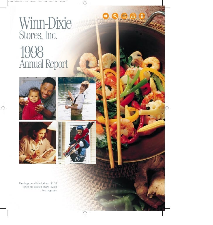 SETUP   CONTENT     Winn-Dixie Stores, Inc. 1998 Annual Report     Earnings per diluted share $1.33    Taxes per diluted s...