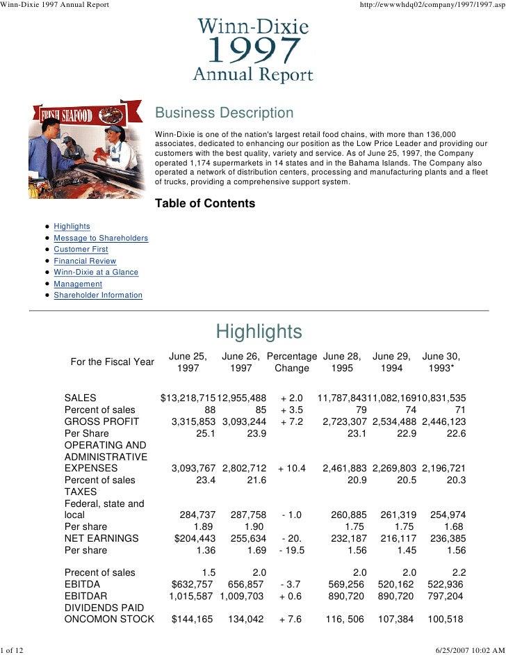 Winn-Dixie 1997 Annual Report                                                                   http://ewwwhdq02/company/1...