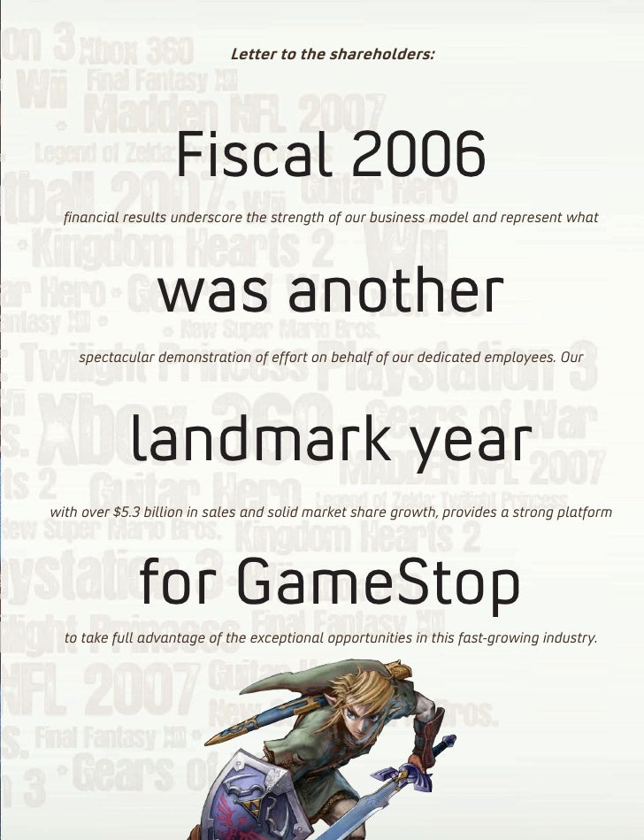 gamestop annual report Gamestop has included the section 302 certifications of the chief executive officer and chief financial officer of gamestop as exhibits 311 and 322 to its annual report on form 10-k for.
