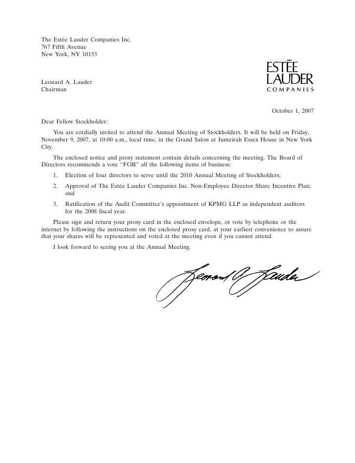 The Est´e Lauder Companies Inc.         e 767 Fifth Avenue New York, NY 10153    Leonard A. Lauder Chairman               ...