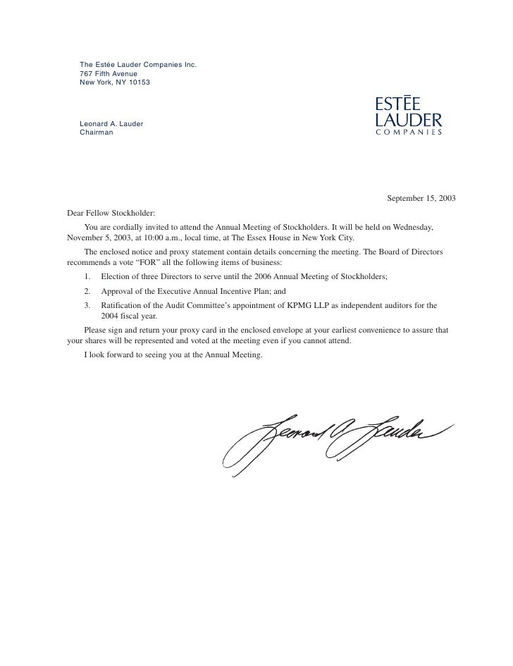 The Estée Lauder Companies Inc.    767 Fifth Avenue    New York, NY 10153        Leonard A. Lauder    Chairman            ...