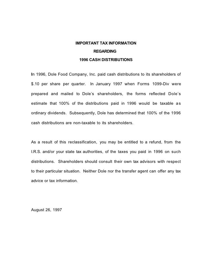 IMPORTANT TAX INFORMATION                                     REGARDING                               1996 CASH DISTRIBUTI...