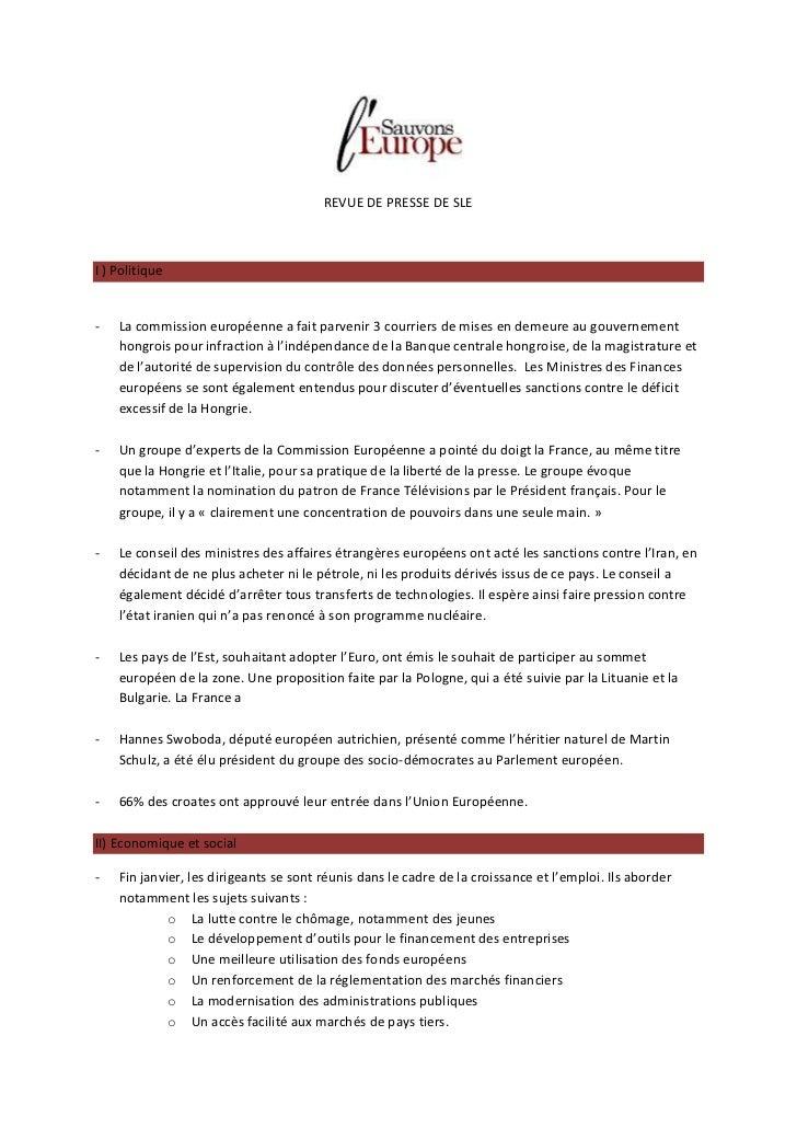 REVUE DE PRESSE DE SLEI ) Politique-   La commission européenne a fait parvenir 3 courriers de mises en demeure au gouvern...
