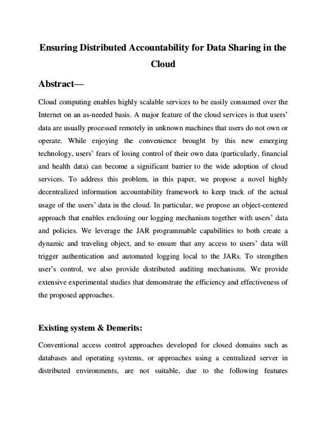 Ensuring Distributed Accountability for Data Sharing in the                                      CloudAbstract—Cloud compu...