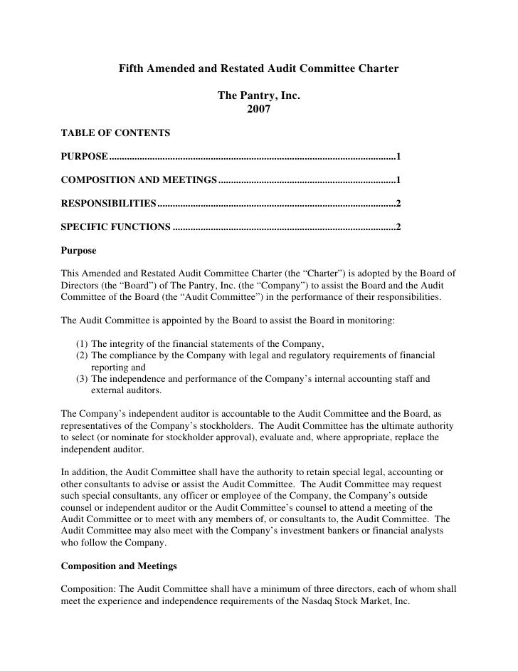 Fifth Amended and Restated Audit Committee Charter                                                         The Pantry, Inc...