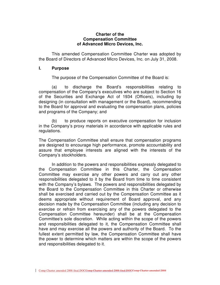Charter of the                                Compensation Committee                             of Advanced Micro Devices...