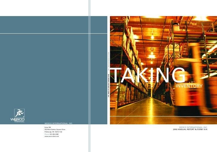 AKINGINVENTORY              WESCO INTERNATIONAL, INC.    2002 ANNUAL REPORT & FORM 10-K