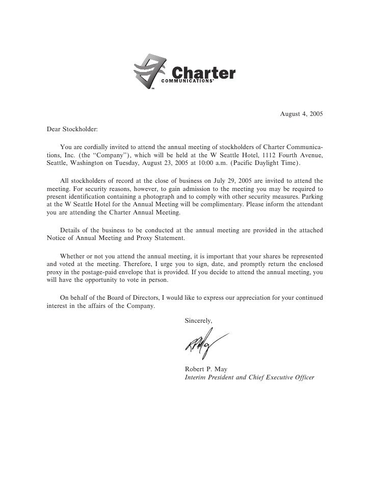 August 4, 2005  Dear Stockholder:       You are cordially invited to attend the annual meeting of stockholders of Charter ...