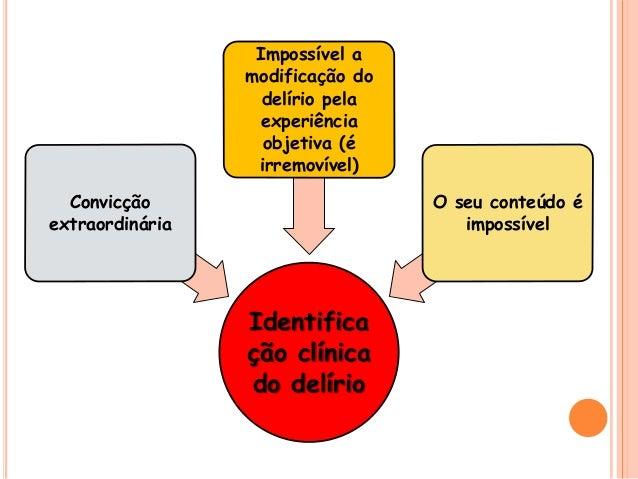 Identifica ção clínica do delírio Convicção extraordinária Impossível a modificação do delírio pela experiência objetiva (...