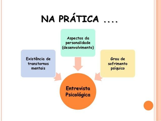 NA PRÁTICA .... Entrevista Psicológica Existência de transtornos mentais Aspectos da personalidade (desenvolvimento) Grau ...
