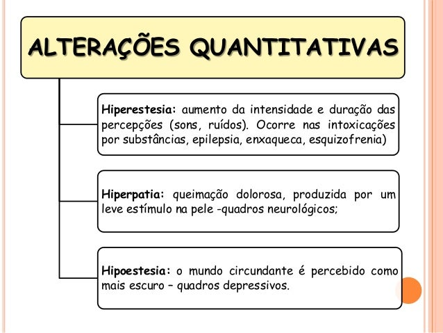 ALTERAÇÕES QUANTITATIVAS Hiperestesia: aumento da intensidade e duração das percepções (sons, ruídos). Ocorre nas intoxica...