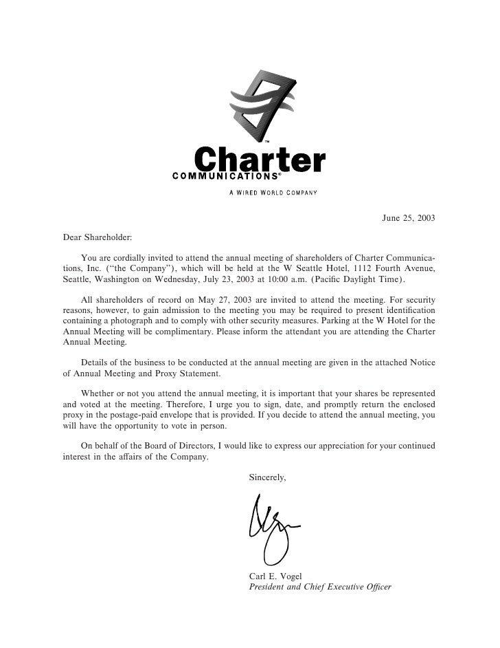 June 25, 2003  Dear Shareholder:       You are cordially invited to attend the annual meeting of shareholders of Charter C...