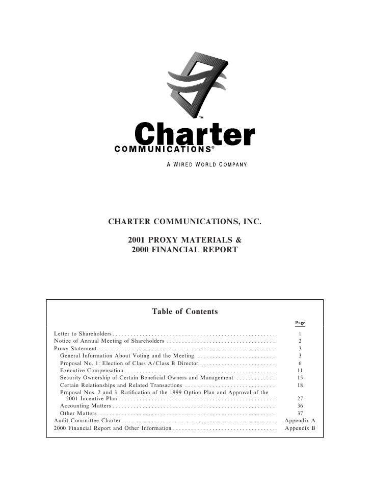 CHARTER COMMUNICATIONS, INC.                            2001 PROXY MATERIALS &                            2000 FINANCIAL R...