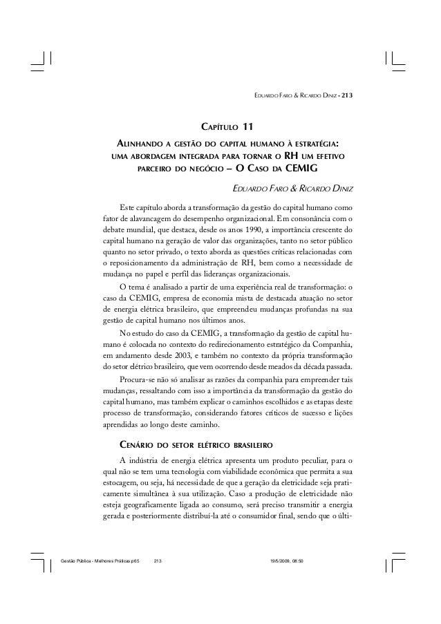EDUARDO FARO & RICARDO DINIZ - 213 CAPÍTULO 11 ALINHANDO A GESTÃO DO CAPITAL HUMANO À ESTRATÉGIA: UMA ABORDAGEM INTEGRADA ...